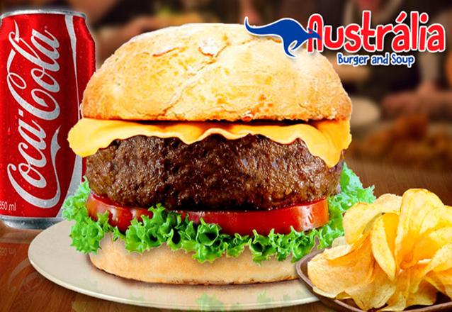 Maravilhoso Combo Sidney! Hambúrguer Sidney + Batata Chips Caseira + 01 Refri por R$19,90 no Austrália Burger and Soup. Novo endereço!