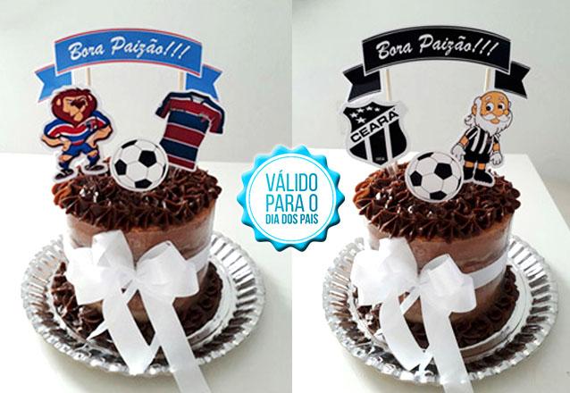 """Bolo especial da Boutique do Chocolate para o Dia dos Pais! Bolo Scrapcake """"Dia dos Pais - Time de Futebol"""" para até 15 pessoas por R$35"""