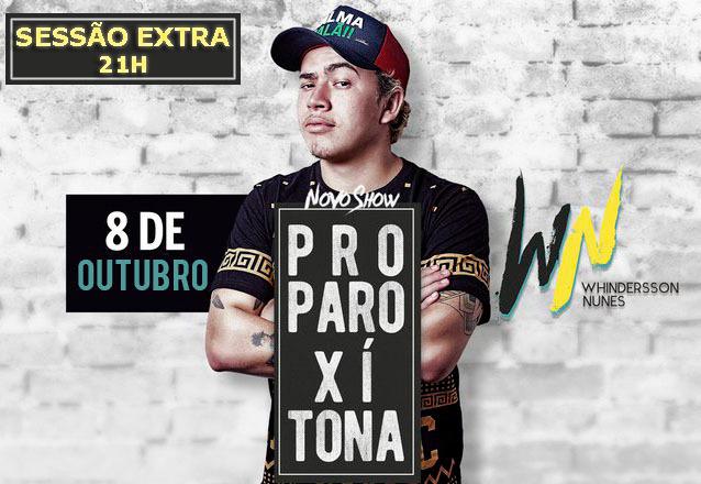 """Sessão Extra do maior Youtuber do Brasil! Ingresso Pista para o espetáculo """"Proparoxítona com Whindersson Nunes"""" no Estacionamento do Shopping Iguatemi por R$40"""