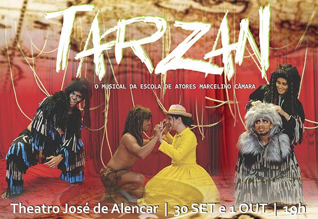 """Uma viagem inesquecível até a selva! Ingresso Inteira para o espetáculo """"TARZAN – O Musical da Escola de Artes Marcelino Câmara"""" por R$19,90 no Theatro José de Alencar"""