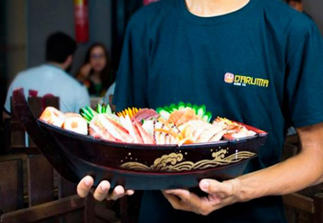 Aquele japa delicioso! Daruma Sushi Ya! Combinado de Sushi de 20 peças + 4 und de Tigrado de R$59,90 por apenas R$44,90