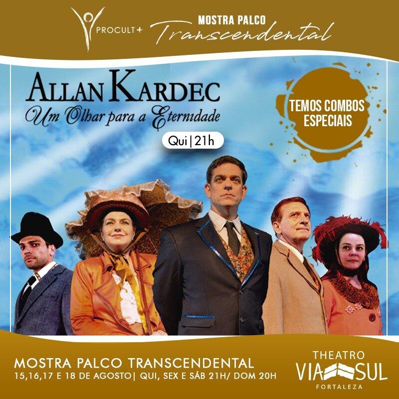 """Ingresso Inteira Plateia Mezanino para o espetáculo """"Allan Kardec"""" no dia 15/08 às 21h de R$60 por R$28,40"""