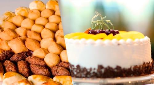 01 Torta Doce média para 30 pessoas + 250 Salgados fritos variados + 50 Empadas + 50 Docinhos Tradicionais + Coca-Cola (1,5L) de R$199,90 por R$99,90