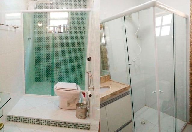 Seu banheiro mais bonito e organizado! Box Frontal para banheiro de até (1,10m x 1,9m) + Kit em alumínio natural fosco por R$384 na Alves Vidraçaria