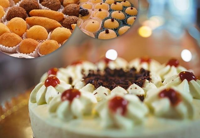 Kit sucesso! Torta Doce para 40 pessoas + 400 Salgados + 1 Torta de Frango (1,5kg) + 100 Docinhos por R$99,99 da Delícia Doces e Salgados